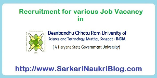 Naukri Vacancy Recruitment in DCRUSTM Sonepat Haryana