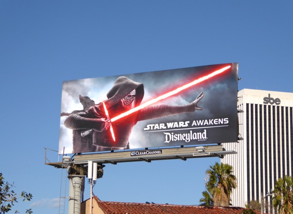 Kylo Ren Star Wars Awakens Disneyland billboard