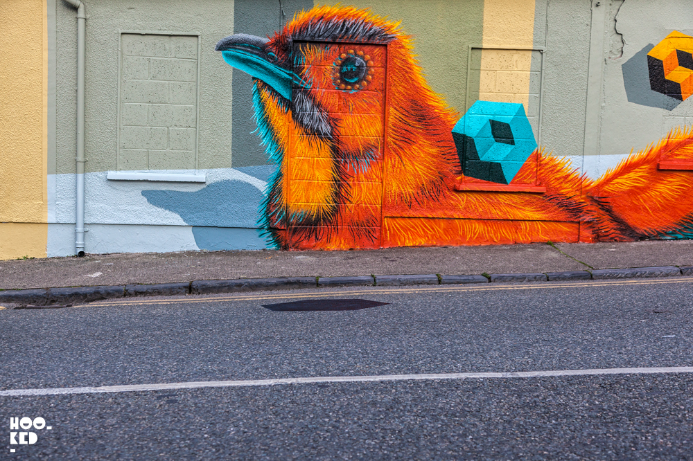 Canadian Street Artist BirdO's Waterford Walls Mural in Ireland