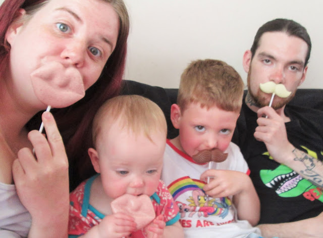 Project 365 - Me, Baby S, D and Simon posing with lip and mustache shaped lollies