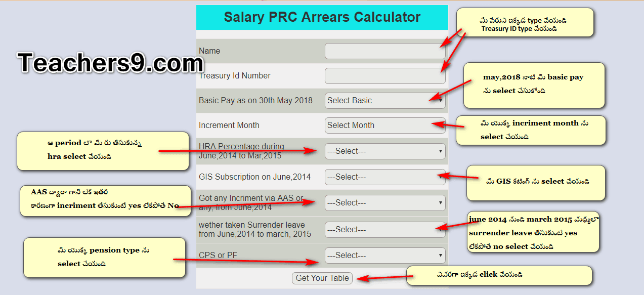 PRC Arrears online calculator (online software) For AP Employees