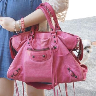 Away From The Blue   Balenciaga 2010 pink sorbet city classic RH bag