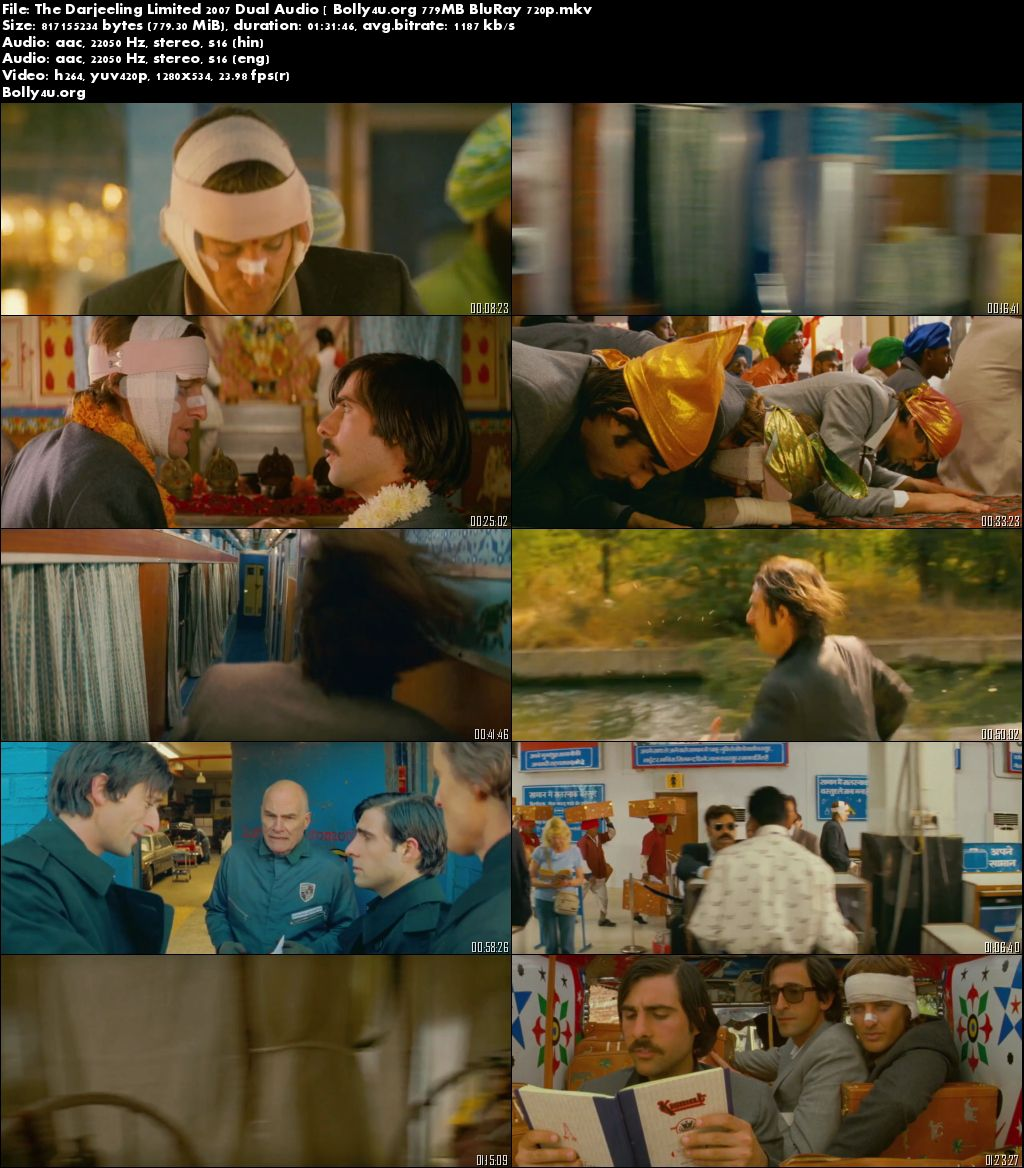 The Darjeeling Limited 2007 BRRip Hindi Dual Audio 750MB 720p Download