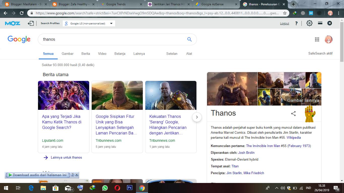 Jentikan Jari Thanos Membuat Pencarian Google Hilang