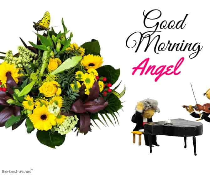 good morning angel image with bouquet
