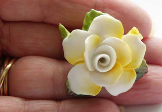 yellow and white bone china flower brooch