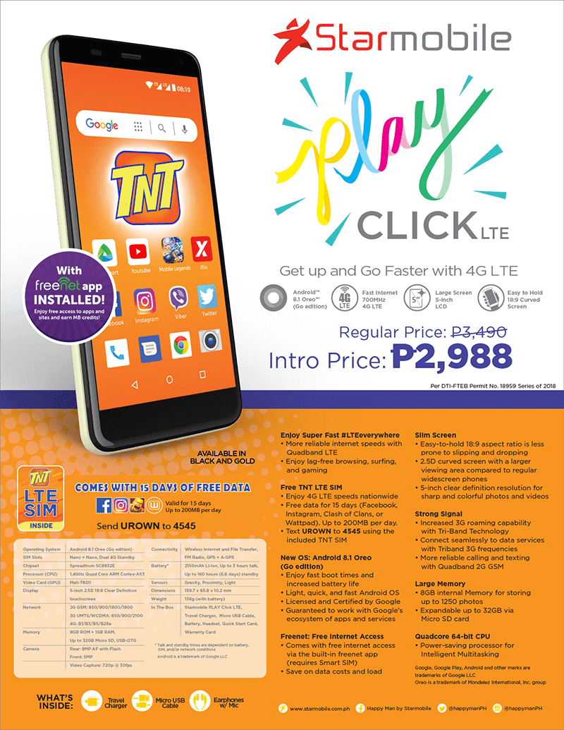Starmobile announces PLAY Click LTE, the most affordable Android (Go edition) 4G smartphone