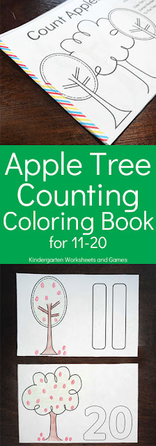 This free printable, apple themed Counting Coloring Pages is a wonderful way to help kids practice numbers 11-20 while having fun during apple month in September. This activity is perfect for learning those tricky teen numbers with pre k, kindergarten, and grade 1 students.