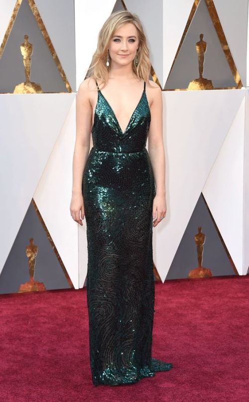Saoirse Ronan in a Calvin Klein dress at the Oscars 2016