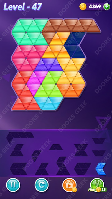 Block! Triangle Puzzle 12 Mania Level 47 Solution, Cheats, Walkthrough for Android, iPhone, iPad and iPod