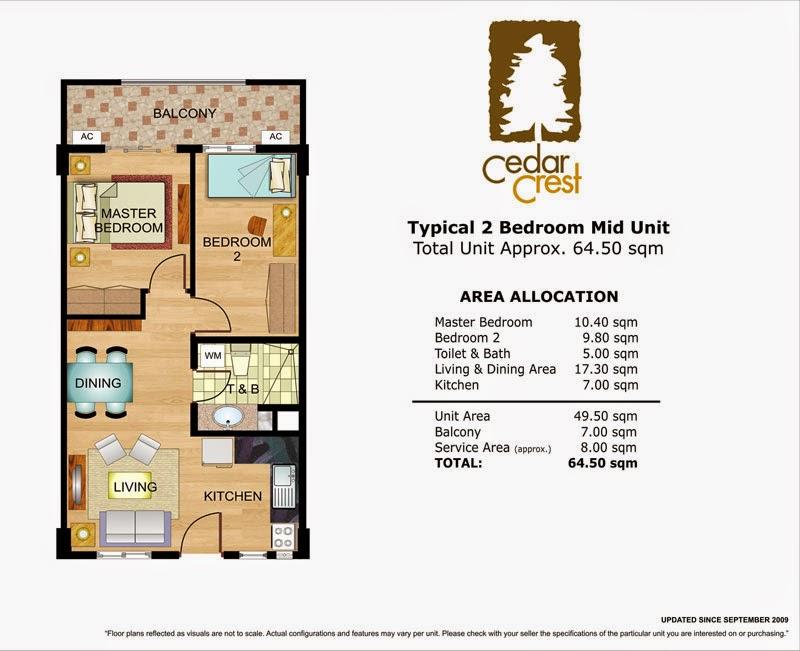 Cedar Crest 2-Bedroom Unit 64.50 sqm.