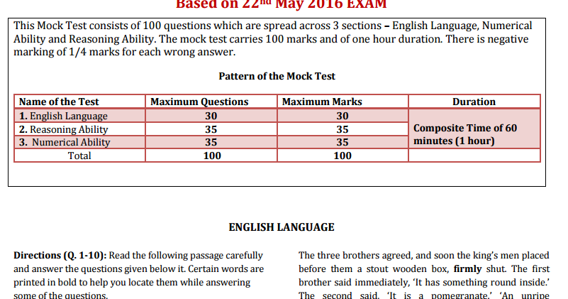 cfe mock exam format pdf