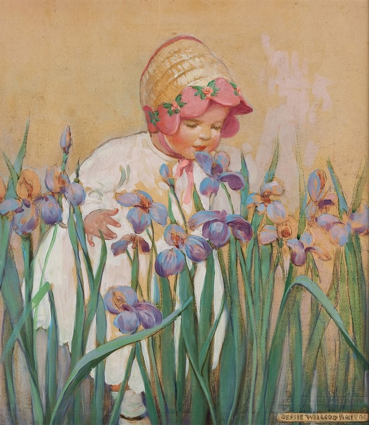 Little Girl with Irises, Good Housekeeping cover, June 1930 by Jessie Willcox Smith (American, 1863-1935)