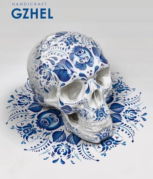02-Gzhel-Style-Sasha-Vinogradova-Russian-Folk-Panting-Skulls-www-designstack-co