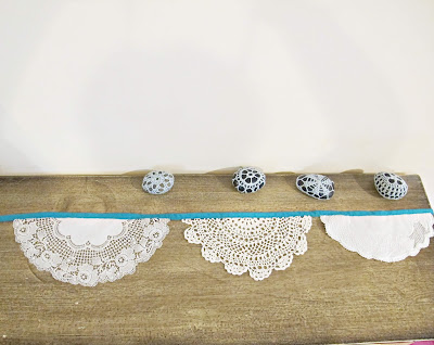 image domum vindemia doily bunting shabby chic upcycled teal turquoise blue peacock