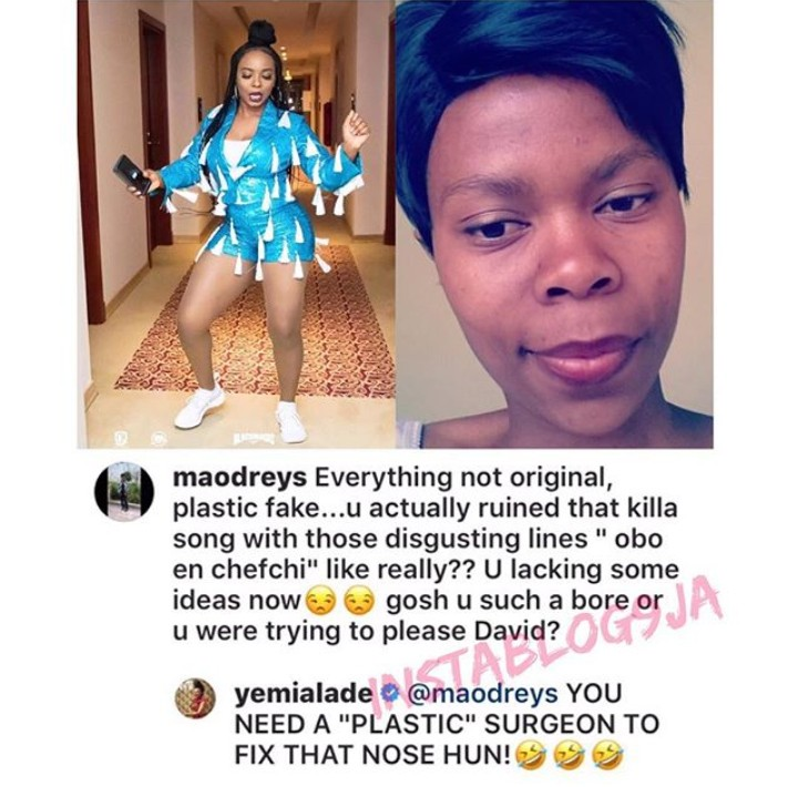 Everything not original, Plastic Fake Yemi Alade battles with a troll