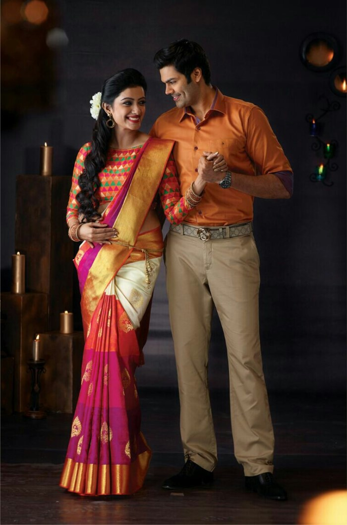 Ganesh Venkatraman Nisha Krishnan Photo Shoot For Pachaiyappa Silks