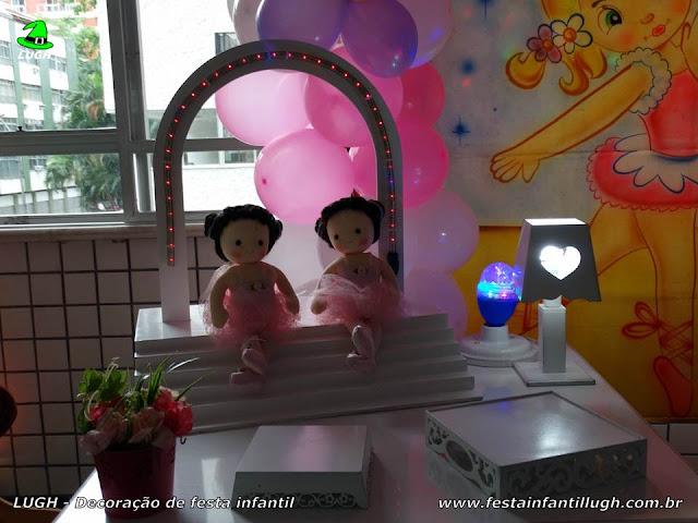Mesa provençal tema Bailarinas, ornamentação de festa infantil feminina