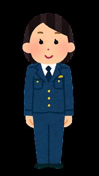 警察官のイラスト(女性・制帽なし・パンツ・若者)