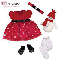 baby doll accessories, doll clothing, holiday gifts, holiday dresses for dolls
