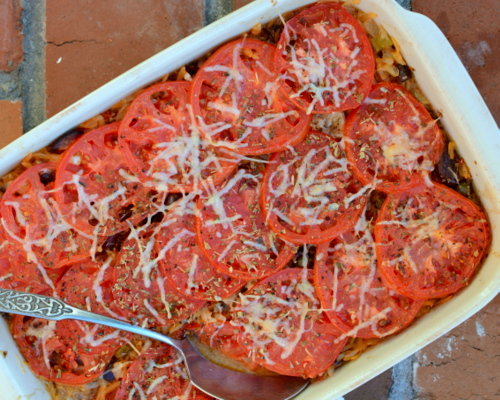 Baked Orzo Casserole with Eggplant, Olives, Goat Cheese & More, another flavor-packed make-ahead summer casserole ♥ A Veggie Venture