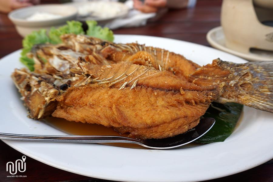 ปลากระพงทอดน้ำปลา คีรีธารา (Kere Tara) กาญจนบุรี