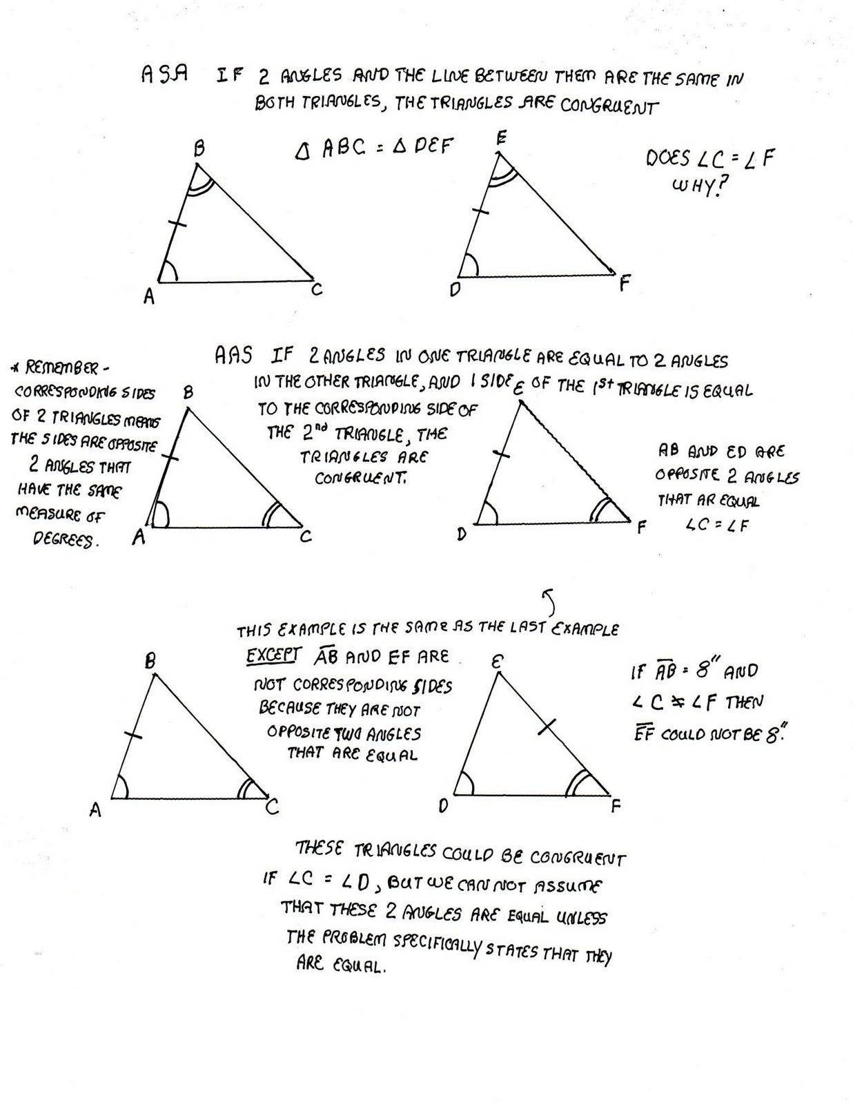 Congruent Triangles Practice Worksheet Answers