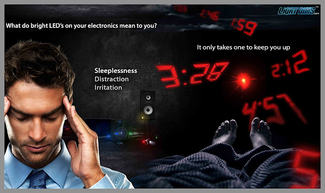 Man feeling Sleeplessness, Distraction and Irritation Due to LEDs