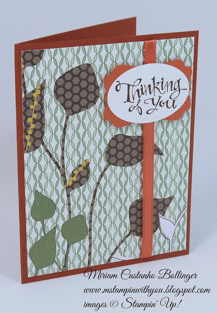 Miriam Castanho Bollinger, mstampingiwhtyou, stampin up, demonstrator, cqc, pocket full of posies dsp, sassy salutations, decorative label punch, su