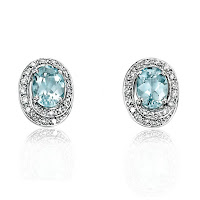 White Gold Oval Shaped Aquamarine Earrings