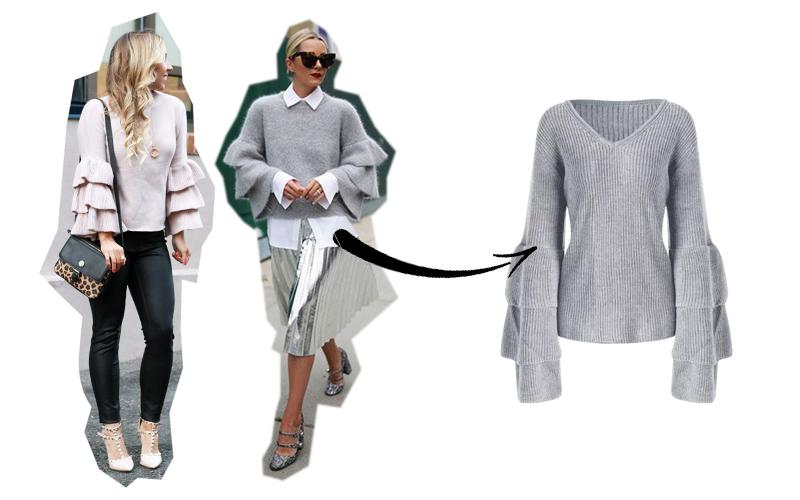 maglione maniche a balze