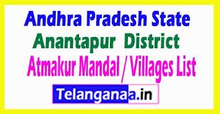 Atmakur Mandal Villages Codes Anantapur District Andhra Pradesh State India