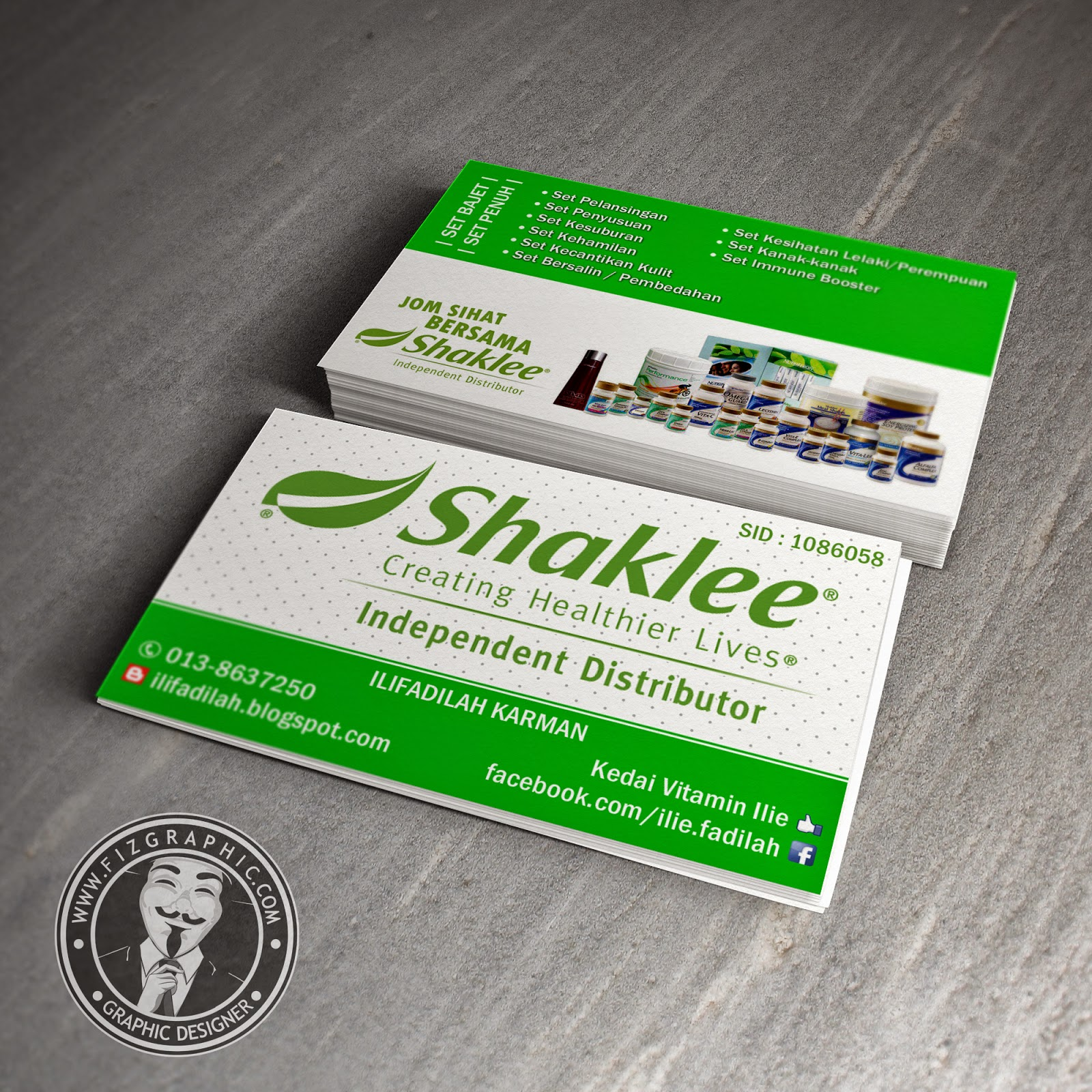 Fizgraphic design printing business card 64 for Shaklee business cards