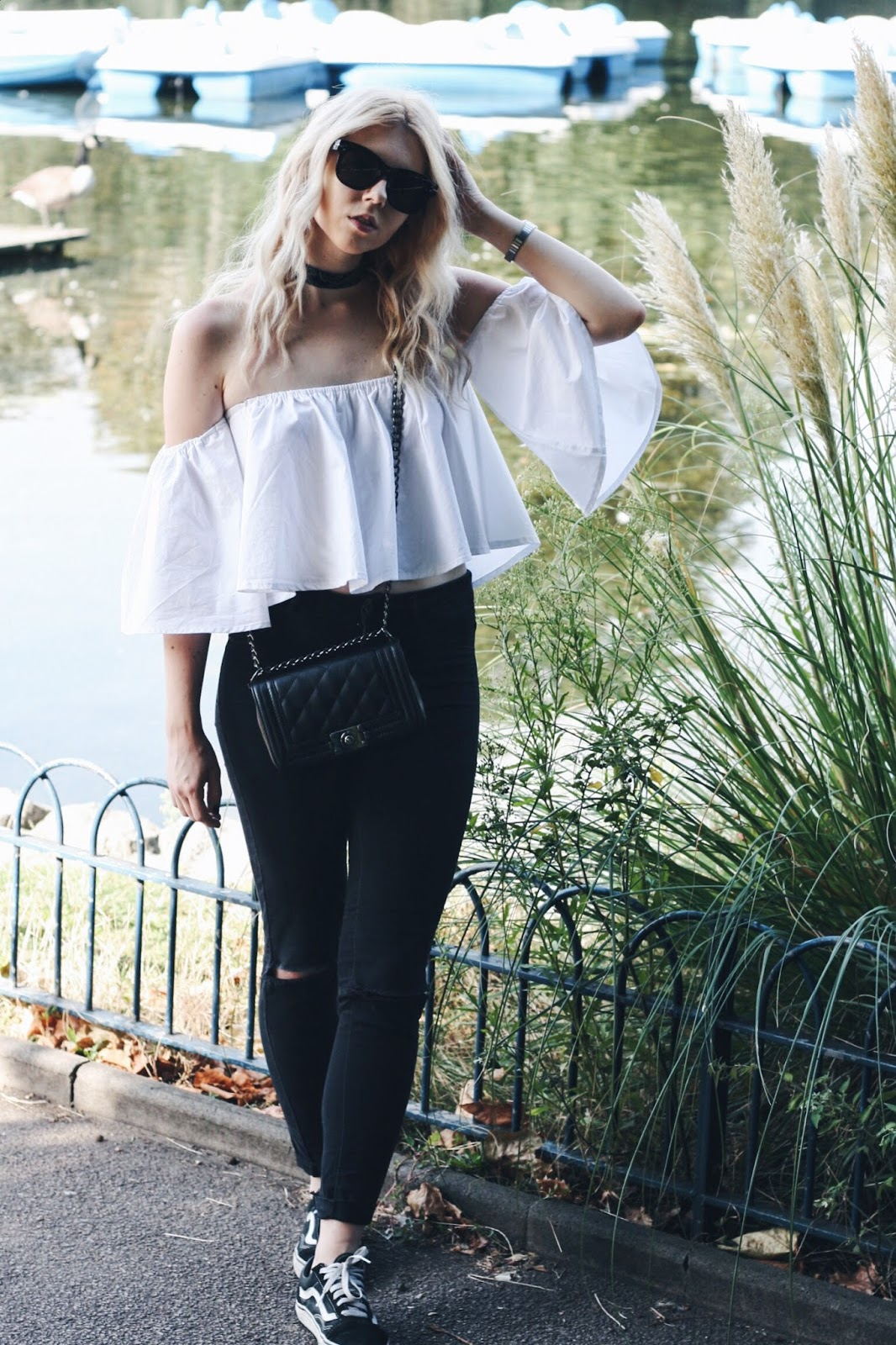 off the shoulder boho blouse, vans old skool trainers
