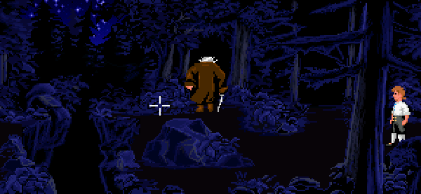 Guybrush persigue al tendero por el bosque.
