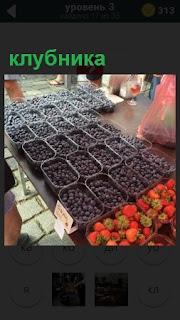 На рынке в лоточках продаются разные ягоды, в том числе и клубника