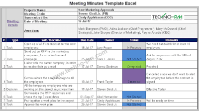 project meeting minutes template excel