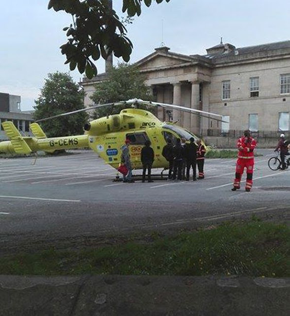 Yorkshire Air Ambulance flies injured man from centre of Huddersfield
