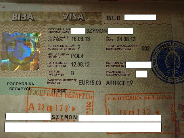Białoruska wiza tranzytowa (2013)