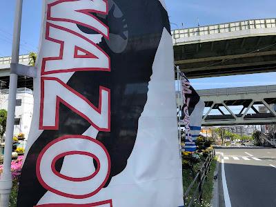 イメージ:近鉄吉田(よした)駅の北側に飾られた旗の列