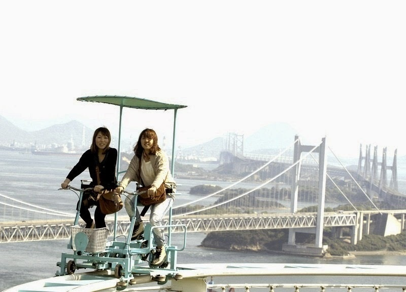 You can enjoy views of the Shimotsui-Seto Bridge while your heart races at record speeds. - Japan's Pedal Powered Roller Coaster Is The Most Unintentionally Terrifying Ride Ever.