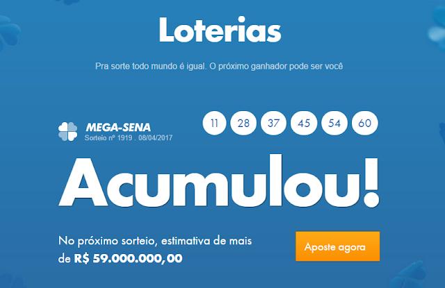 Mega-Sena acumula novamente e vai pagar R$ 59 milhões nesta quarta-feita 12