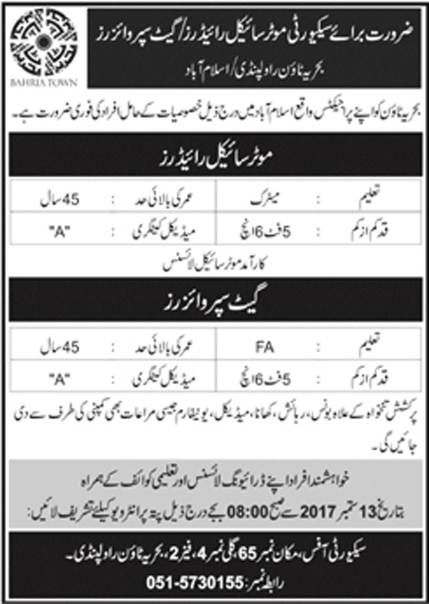 Jobs In Bahria Town Pvt Limited Rawalpindi/Islamabad Sep 2017