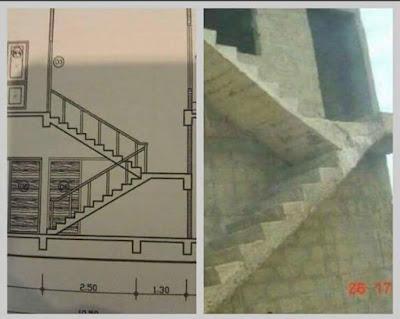 Lectura de planos errónea, escalera