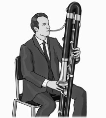 Playing Wind instruments : double bassoon