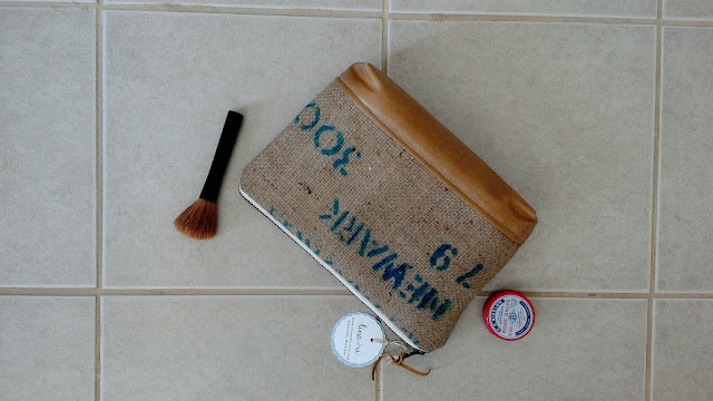 Handmade upcycled coffee burlap sack zipper case by LinaandVi Plymouth MI