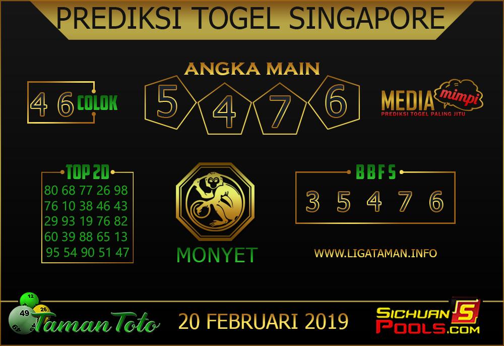 Prediksi Togel SINGAPORE TAMAN TOTO 20 FEBRUARI 2019
