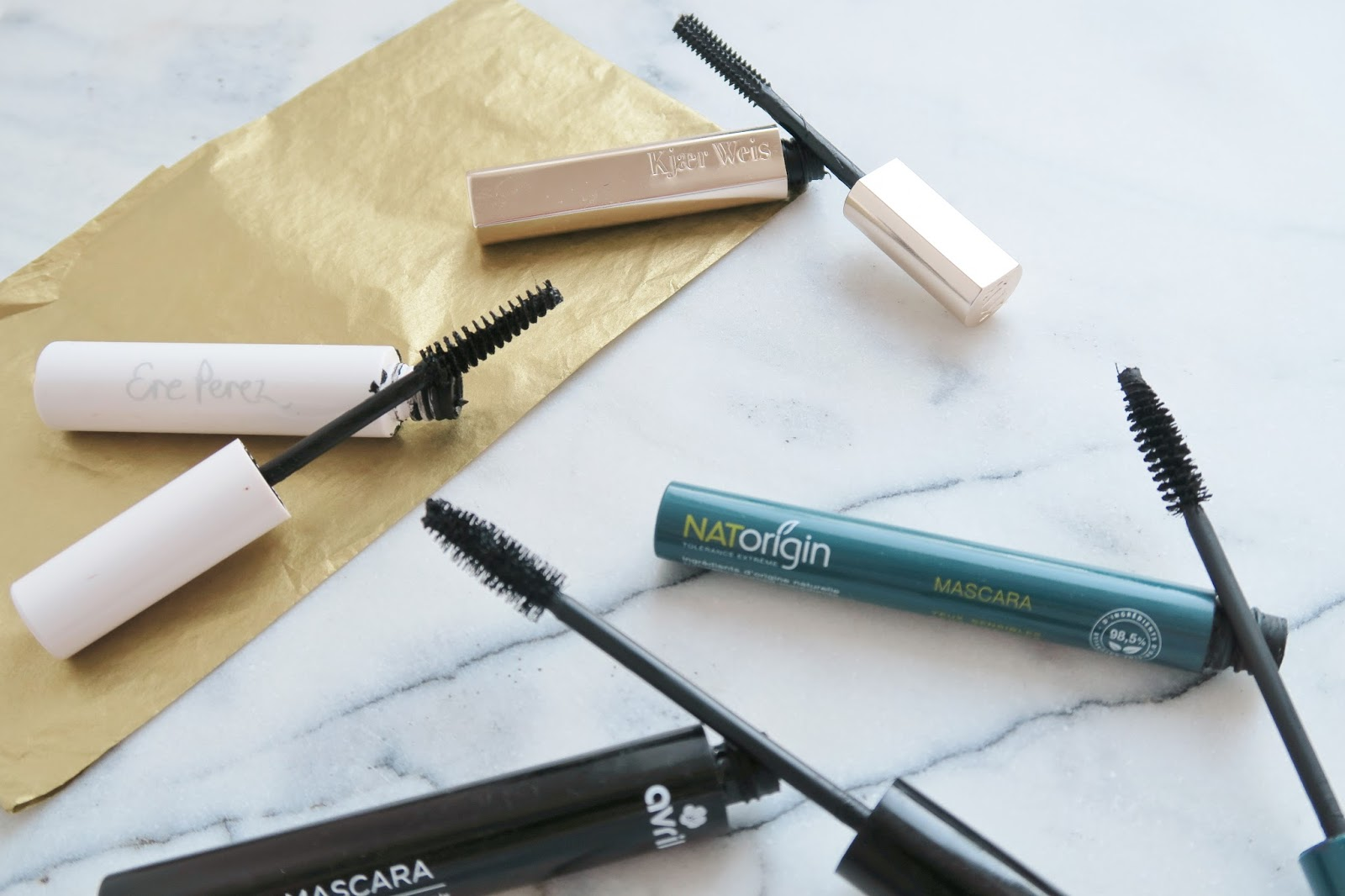Natural and organic mascara overview including Avri, Kjaer Weis, Natorigin and Ere Perez | Ambers Beauty Talk |