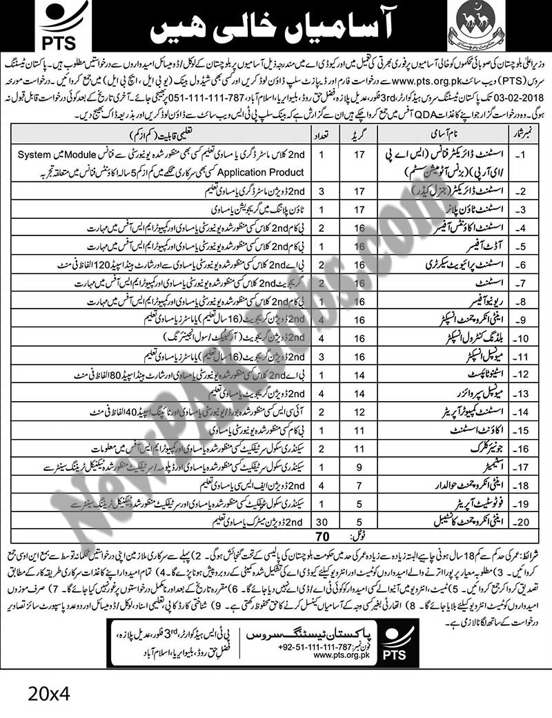 Quetta Development Authority Balochistan, QDA Latest PTS Jobs, Download Form