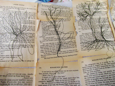 botanicals thread sketched on old book paper